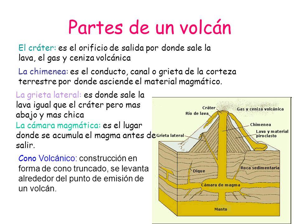 Partes de un volcán El cráter: es el orificio de salida por donde sale la lava, el gas y ceniza volcánica La chimenea: es el conducto, canal o grieta