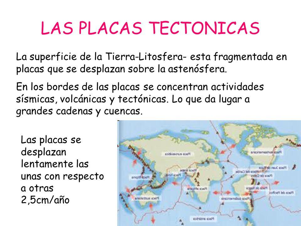 Las placas tectónicas LOS LÍMITES DE PLACAS: son los bordes de placas donde se presenta la mayor actividad tectónica, ya que es donde se produce la interacción entre placas.