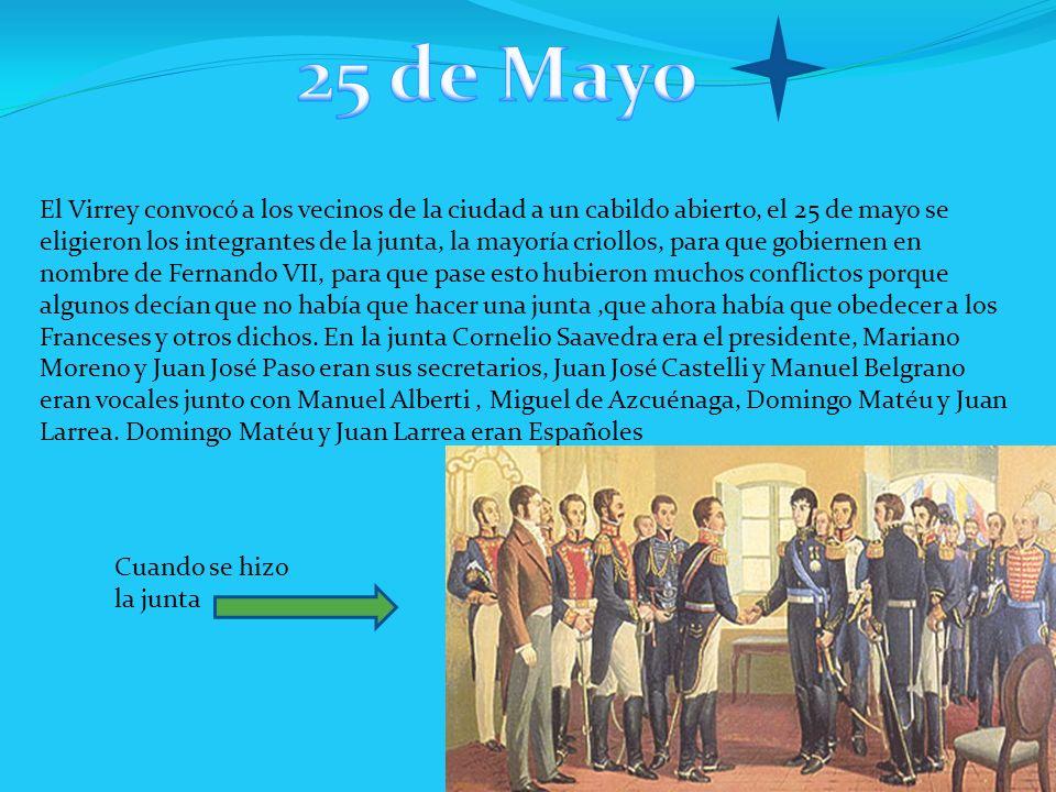 El Virrey convocó a los vecinos de la ciudad a un cabildo abierto, el 25 de mayo se eligieron los integrantes de la junta, la mayoría criollos, para q