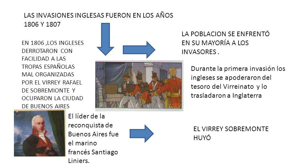 LAS INVASIONES INGLESAS FUERON EN LOS AÑOS 1806 Y 1807 EN 1806,LOS INGLESES DERROTARON CON FACILIDAD A LAS TROPAS ESPAÑOLAS MAL ORGANIZADAS POR EL VIR