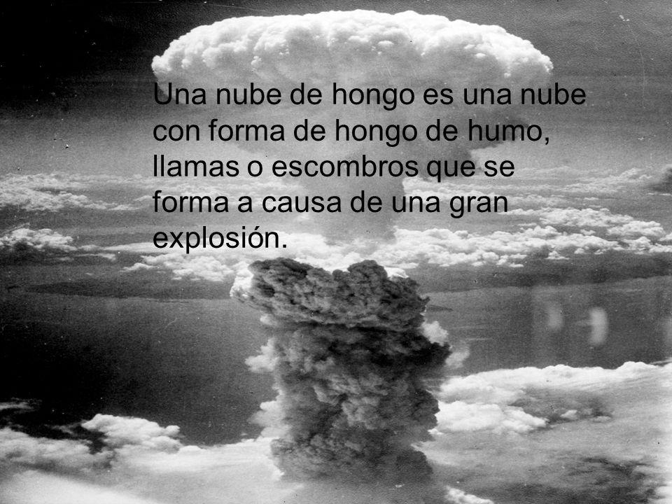 Una nube de hongo es una nube con forma de hongo de humo, llamas o escombros que se forma a causa de una gran explosión.