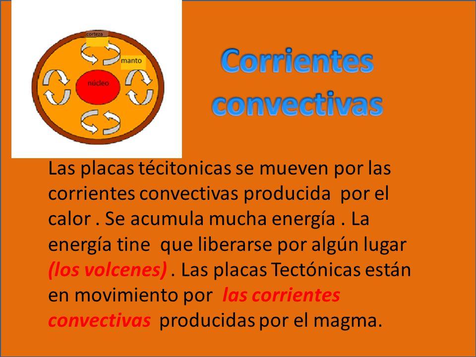 Las placas técitonicas se mueven por las corrientes convectivas producida por el calor. Se acumula mucha energía. La energía tine que liberarse por al