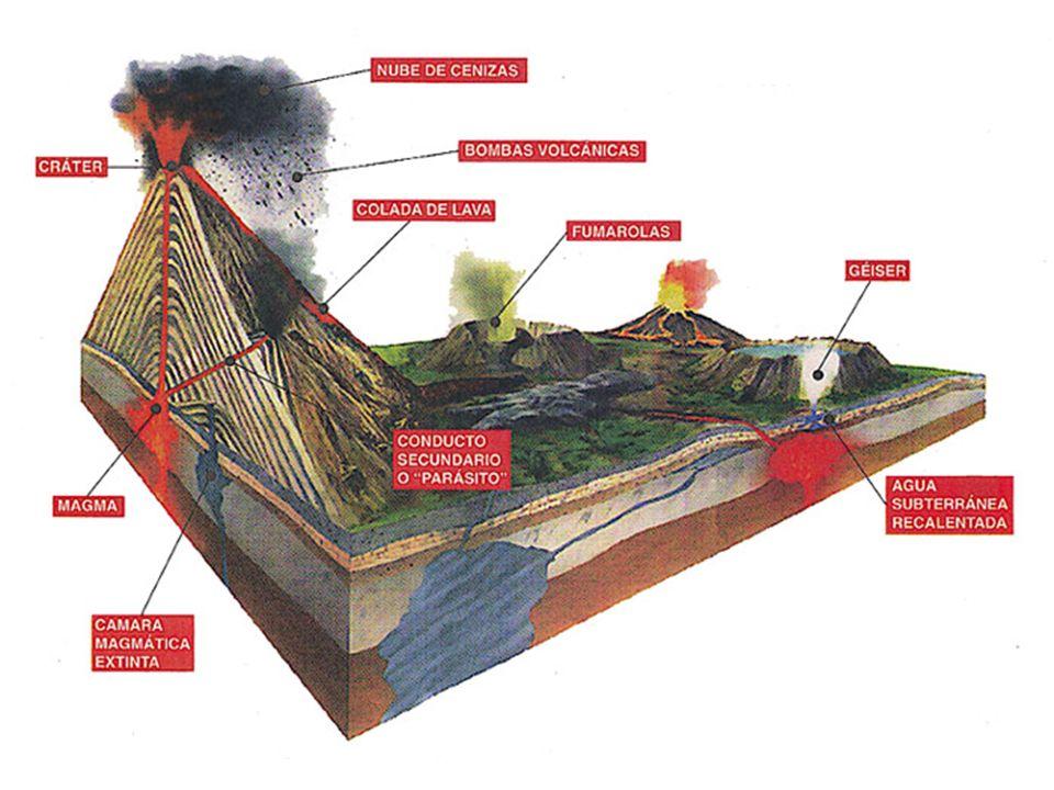 En la parte inferior del volcán por el interior de la tierra esta la cámara magmática en donde se encuentra el magma mas arriba esta la chimenea y las