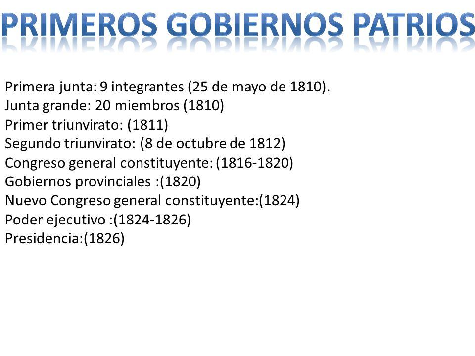 Primera junta: 9 integrantes (25 de mayo de 1810). Junta grande: 20 miembros (1810) Primer triunvirato: (1811) Segundo triunvirato: (8 de octubre de 1