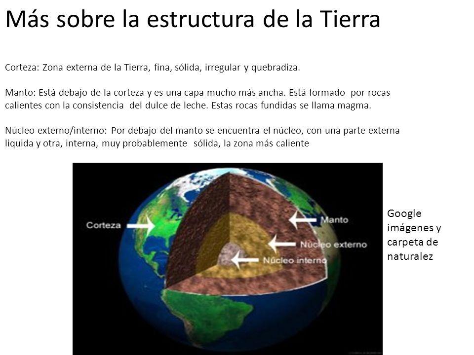Más sobre la estructura de la Tierra Corteza: Zona externa de la Tierra, fina, sólida, irregular y quebradiza.