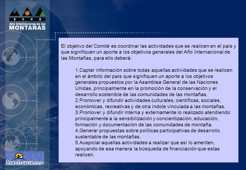 El objetivo del Comité es coordinar las actividades que se realicen en el país y que signifiquen un aporte a los objetivos generales del Año Internaci