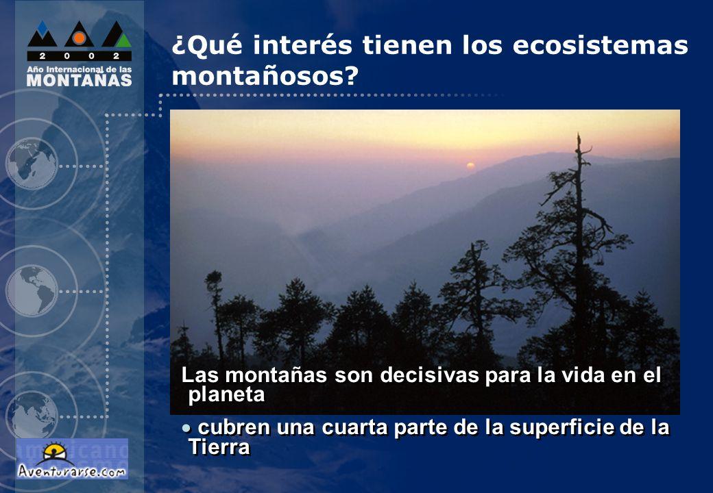 Las montañas son decisivas para la vida en el planeta cubren una cuarta parte de la superficie de la Tierra Las montañas son decisivas para la vida en el planeta cubren una cuarta parte de la superficie de la Tierra ¿Qué interés tienen los ecosistemas montañosos