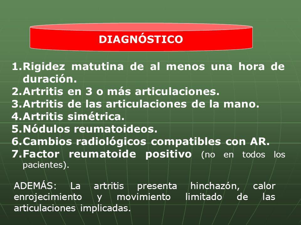 1.Rigidez matutina de al menos una hora de duración. 2.Artritis en 3 o más articulaciones. 3.Artritis de las articulaciones de la mano. 4.Artritis sim