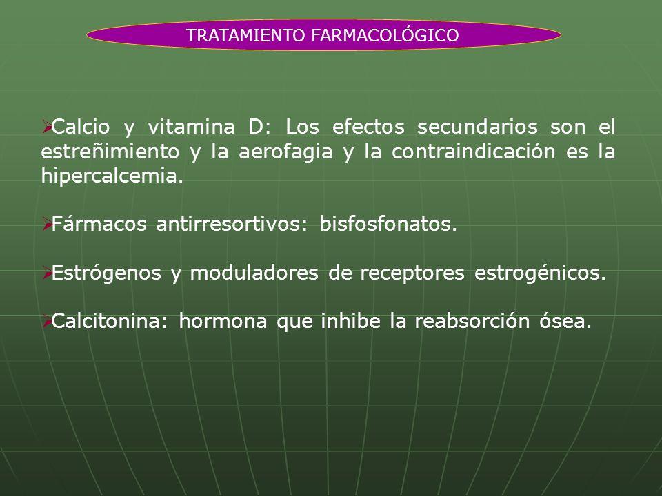 Calcio y vitamina D: Los efectos secundarios son el estreñimiento y la aerofagia y la contraindicación es la hipercalcemia. Fármacos antirresortivos: