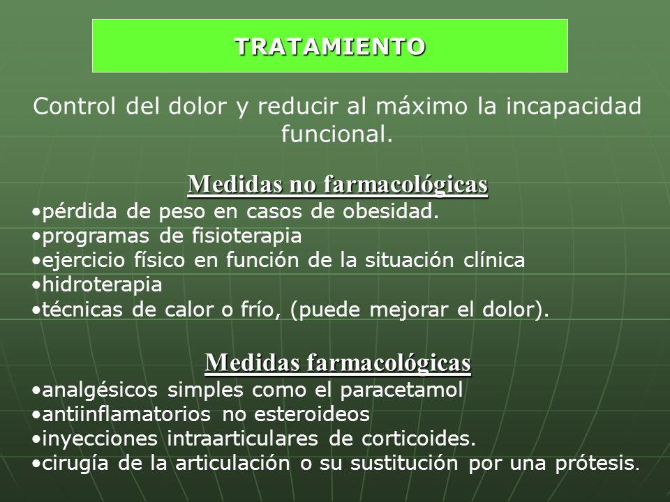 Control del dolor y reducir al máximo la incapacidad funcional. Medidas no farmacológicas pérdida de peso en casos de obesidad. programas de fisiotera