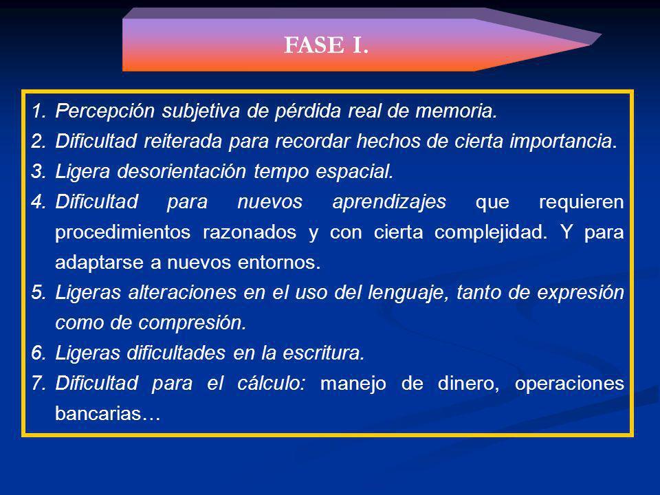 FASES DEL PROCESO Fase I. Inicial o leve. Fase II. Intermedia o moderada. Fase III. Terminal, final o grave.
