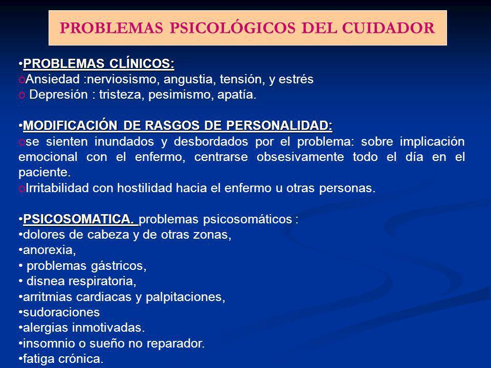 TRASTORNOS FÍSICOS DEL CUIDADOR 1- Trastornos osteomusculares y dolores asociados 2- Patologías cardiovasculares 3- Trastornos gastrointestinales 4- A