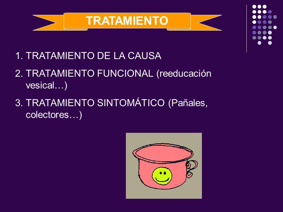 TRATAMIENTO 1.TRATAMIENTO DE LA CAUSA 2.TRATAMIENTO FUNCIONAL (reeducación vesical…) 3.TRATAMIENTO SINTOMÁTICO (Pañales, colectores…)