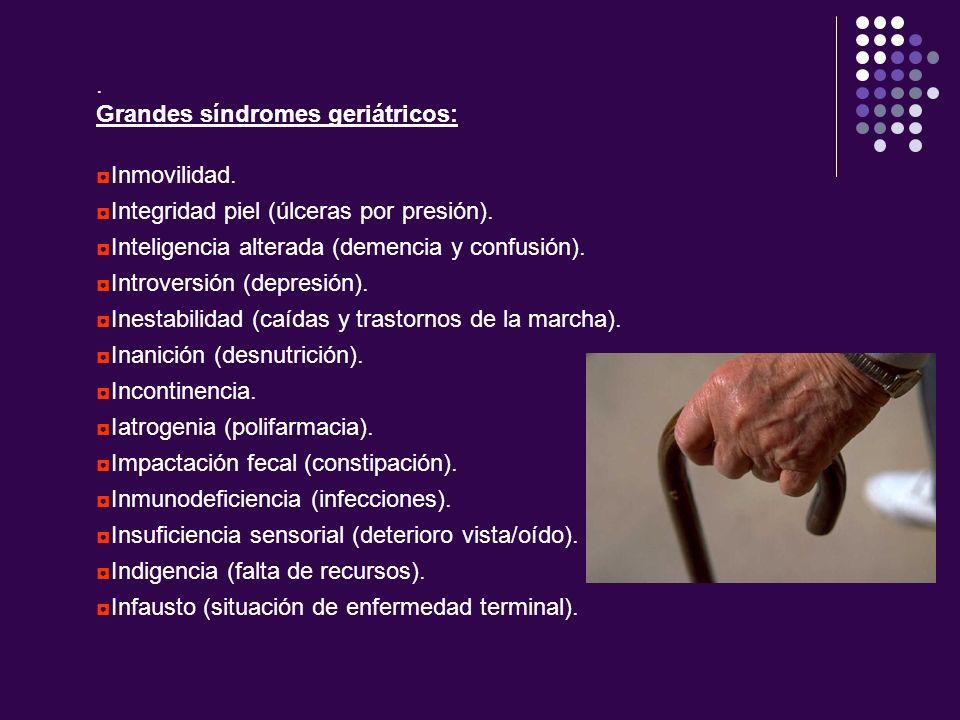 . Grandes síndromes geriátricos: Inmovilidad. Integridad piel (úlceras por presión). Inteligencia alterada (demencia y confusión). Introversión (depre
