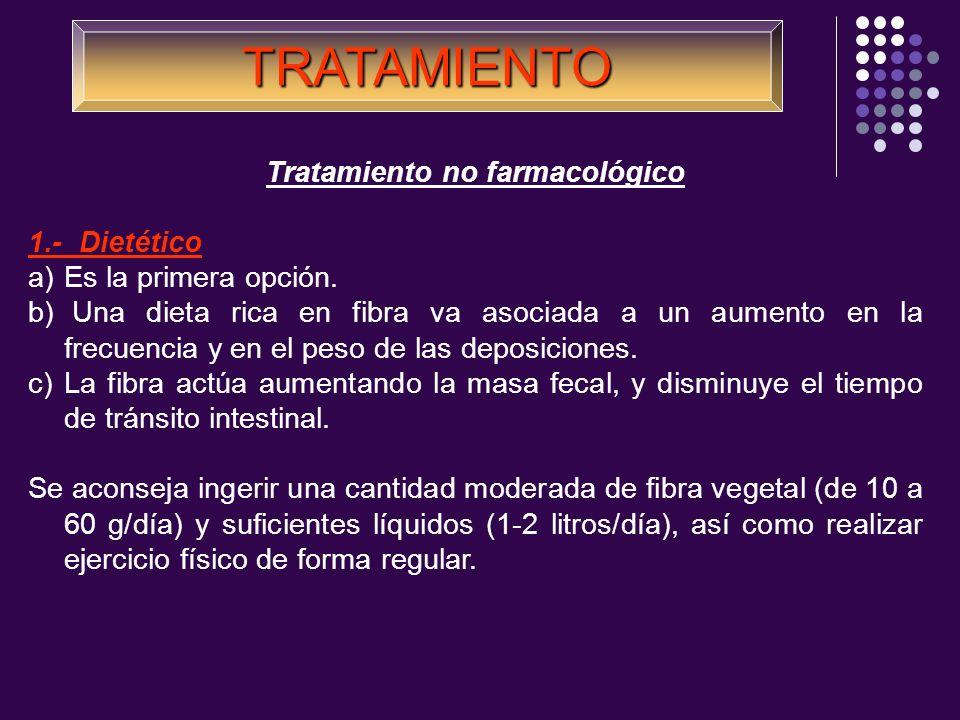 Tratamiento no farmacológico 1.- Dietético a)Es la primera opción. b) Una dieta rica en fibra va asociada a un aumento en la frecuencia y en el peso d