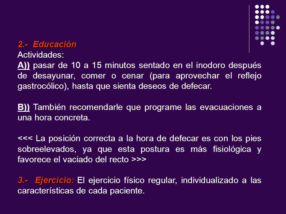 2.- Educación Actividades: A)) pasar de 10 a 15 minutos sentado en el inodoro después de desayunar, comer o cenar (para aprovechar el reflejo gastrocó