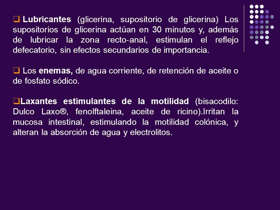 Lubricantes (glicerina, supositorio de glicerina) Los supositorios de glicerina actúan en 30 minutos y, además de lubricar la zona recto-anal, estimul