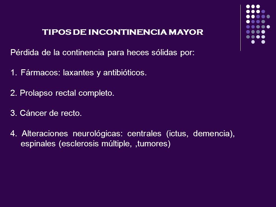 TIPOS DE INCONTINENCIA MAYOR Pérdida de la continencia para heces sólidas por: 1.Fármacos: laxantes y antibióticos. 2. Prolapso rectal completo. 3. Cá