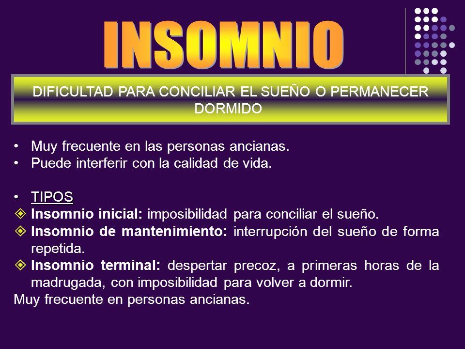 Muy frecuente en las personas ancianas. Puede interferir con la calidad de vida. TIPOSTIPOS Insomnio inicial: imposibilidad para conciliar el sueño. I