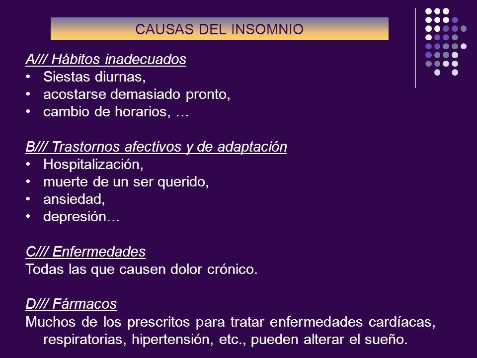A/// Hábitos inadecuados Siestas diurnas, acostarse demasiado pronto, cambio de horarios, … B/// Trastornos afectivos y de adaptación Hospitalización,
