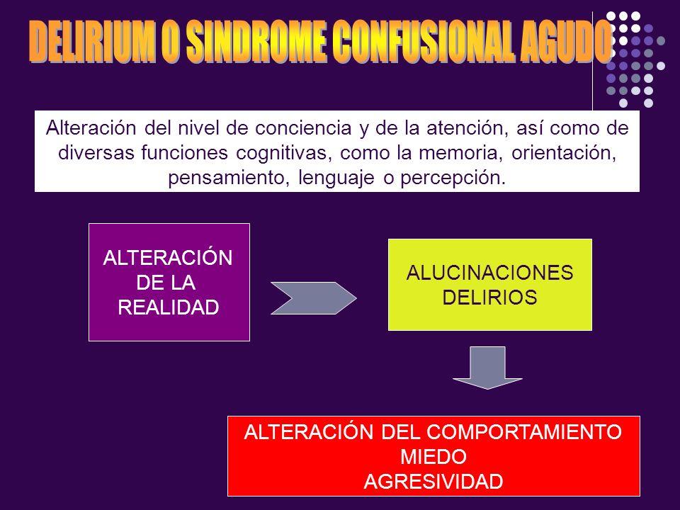 Alteración del nivel de conciencia y de la atención, así como de diversas funciones cognitivas, como la memoria, orientación, pensamiento, lenguaje o
