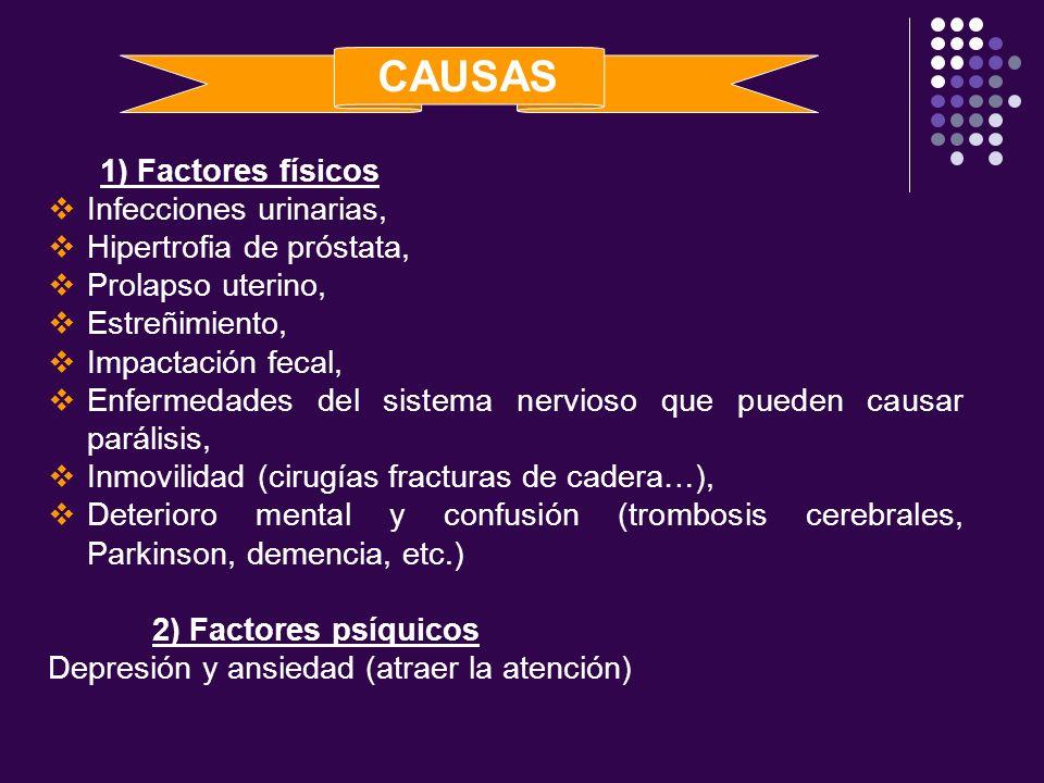 1) Factores físicos Infecciones urinarias, Hipertrofia de próstata, Prolapso uterino, Estreñimiento, Impactación fecal, Enfermedades del sistema nervi
