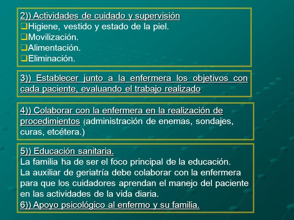 4)) Colaborar con la enfermera en la realización de procedimientos 4)) Colaborar con la enfermera en la realización de procedimientos ( administración