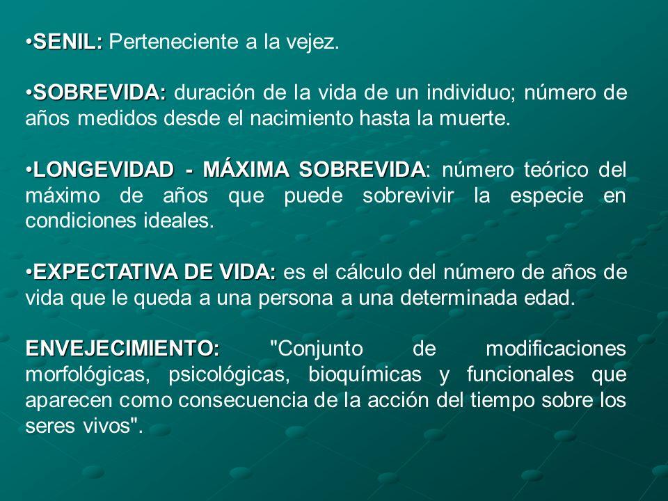 SENIL:SENIL: Perteneciente a la vejez. SOBREVIDA:SOBREVIDA: duración de la vida de un individuo; número de años medidos desde el nacimiento hasta la m