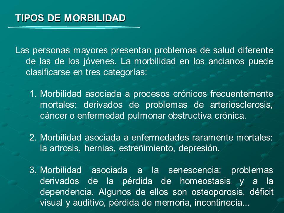 TIPOS DE MORBILIDAD Las personas mayores presentan problemas de salud diferente de las de los jóvenes. La morbilidad en los ancianos puede clasificars