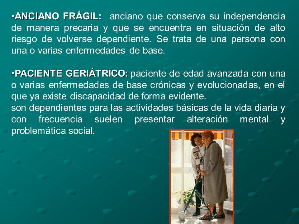 ANCIANO FRÁGIL:ANCIANO FRÁGIL: anciano que conserva su independencia de manera precaria y que se encuentra en situación de alto riesgo de volverse dep