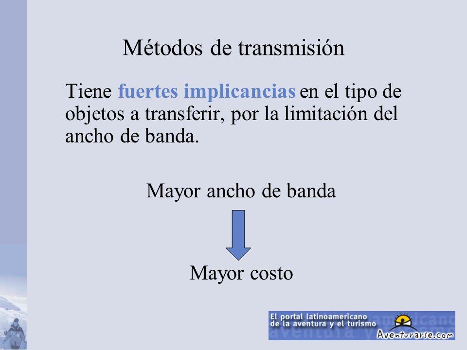 Tiene fuertes implicancias en el tipo de objetos a transferir, por la limitación del ancho de banda.