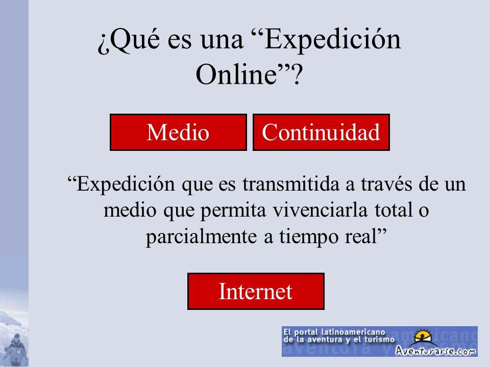 ¿Qué es una Expedición Online? Expedición que es transmitida a través de un medio que permita vivenciarla total o parcialmente a tiempo real Internet
