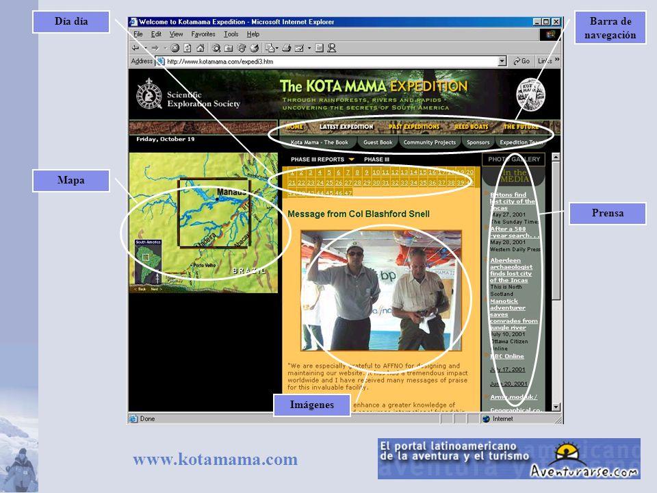 www.kotamama.com Día díaNombre y sloganBarra de navegación Mapa Día día Prensa Cronograma Imágenes Galería