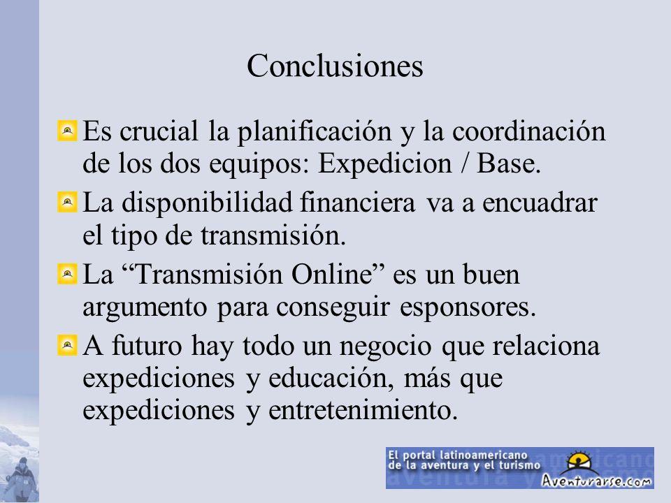 Es crucial la planificación y la coordinación de los dos equipos: Expedicion / Base. La disponibilidad financiera va a encuadrar el tipo de transmisió
