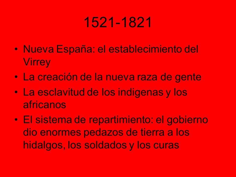 1521-1821 Nueva España: el establecimiento del Virrey La creación de la nueva raza de gente La esclavitud de los indigenas y los africanos El sistema de repartimiento: el gobierno dio enormes pedazos de tierra a los hidalgos, los soldados y los curas