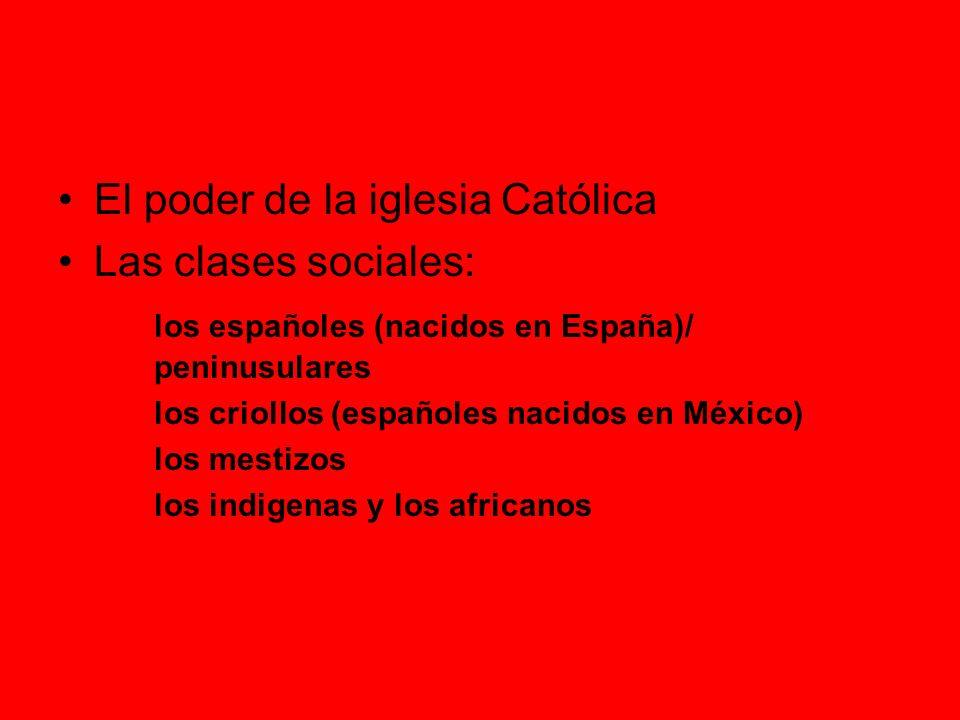 El poder de la iglesia Católica Las clases sociales: los españoles (nacidos en España)/ peninusulares los criollos (españoles nacidos en México) los mestizos los indigenas y los africanos