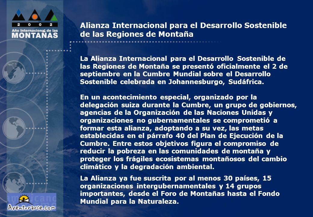 La Alianza Internacional para el Desarrollo Sostenible de las Regiones de Montaña se presentó oficialmente el 2 de septiembre en la Cumbre Mundial sob