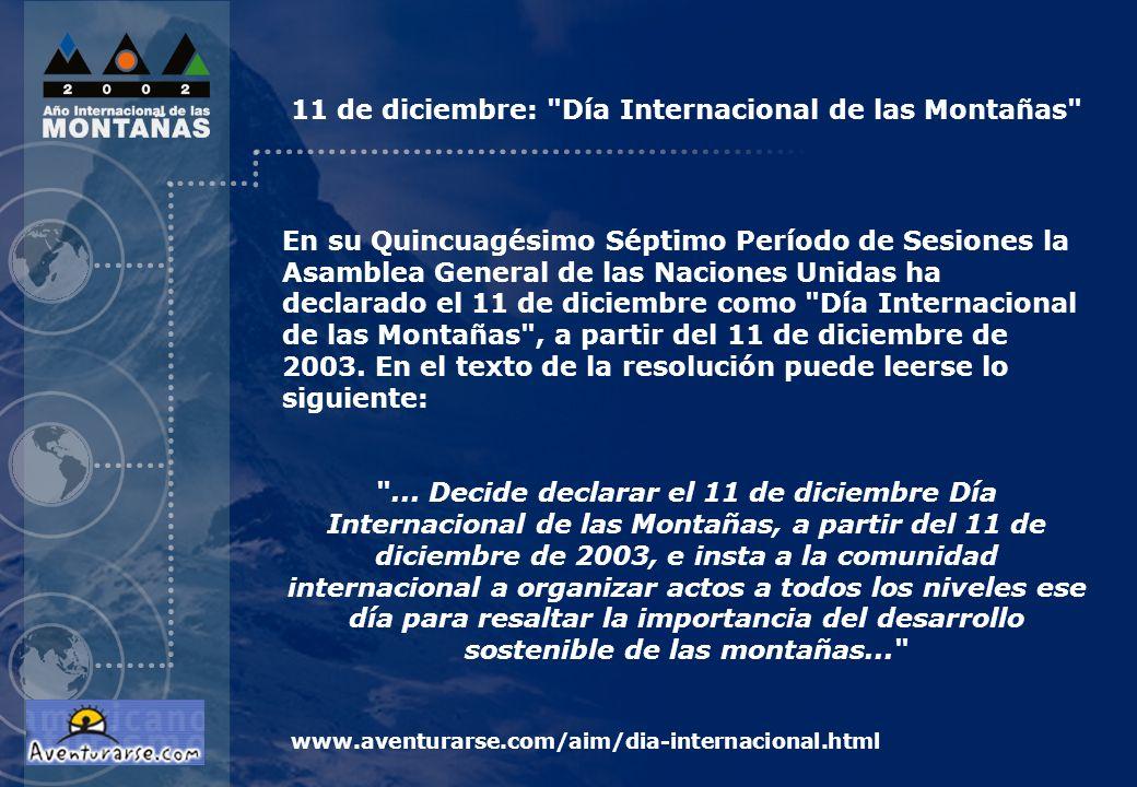 En su Quincuagésimo Séptimo Período de Sesiones la Asamblea General de las Naciones Unidas ha declarado el 11 de diciembre como