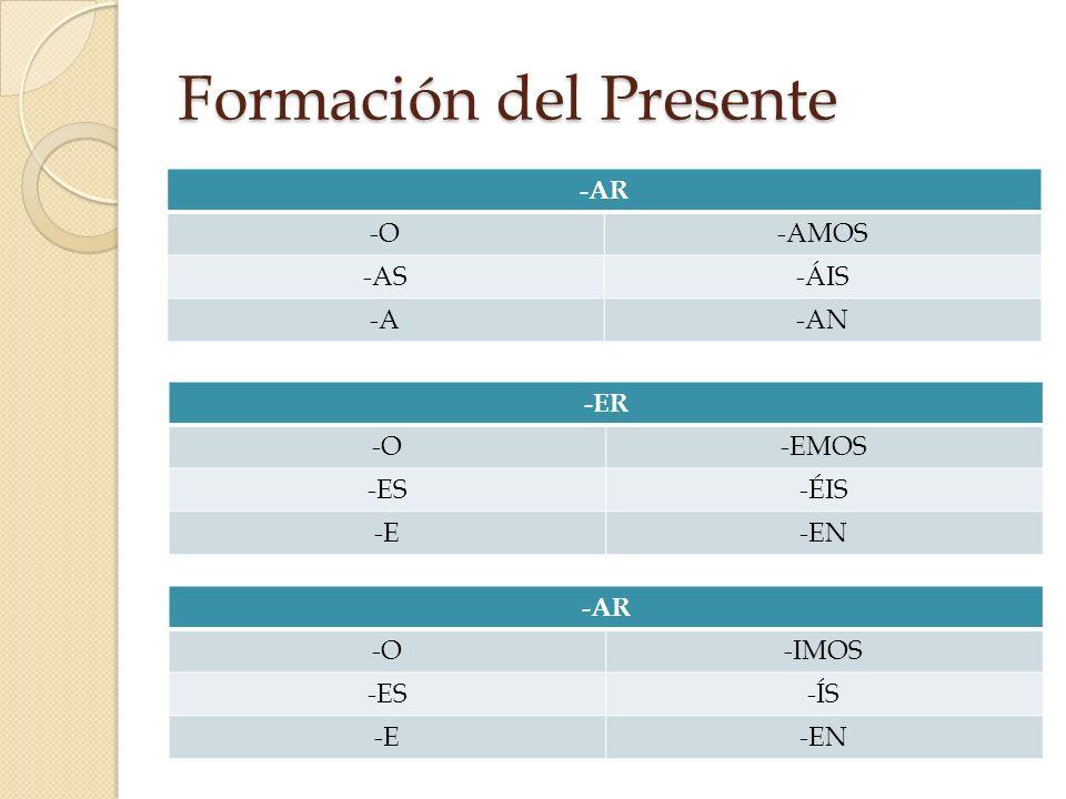 Formación del Presente -AR -O-AMOS -AS-ÁIS -A-AN -ER -O-EMOS -ES-ÉIS -E-EN -AR -O-IMOS -ES-ÍS -E-EN