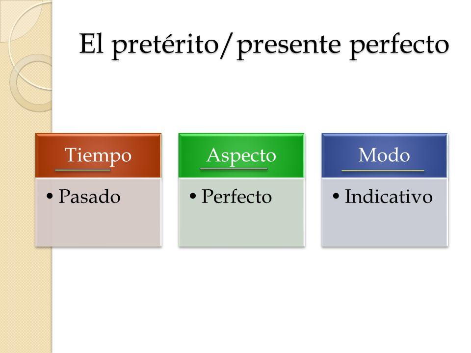 El pretérito/presente perfecto Tiempo Pasado Aspecto Perfecto Modo Indicativo