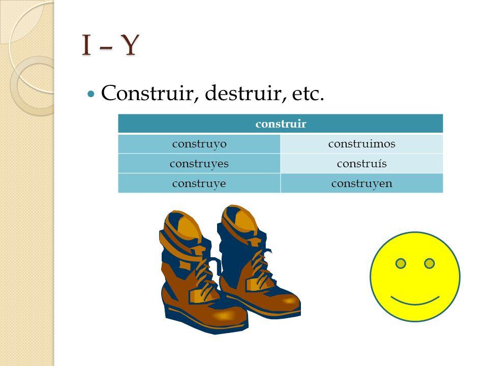 I – Y Construir, destruir, etc. construir construyoconstruimos construyesconstruís construyeconstruyen