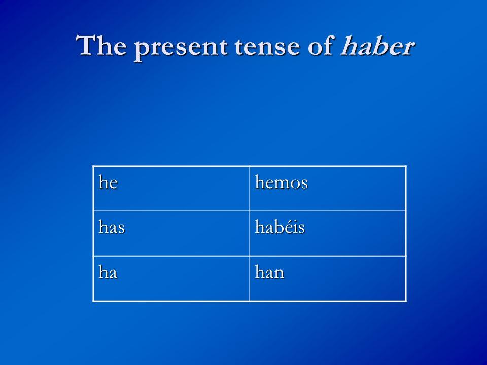 The present tense of haber hehemos hashabéis hahan