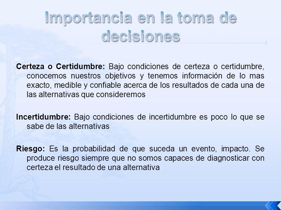 Certeza o Certidumbre: Bajo condiciones de certeza o certidumbre, conocemos nuestros objetivos y tenemos información de lo mas exacto, medible y confi
