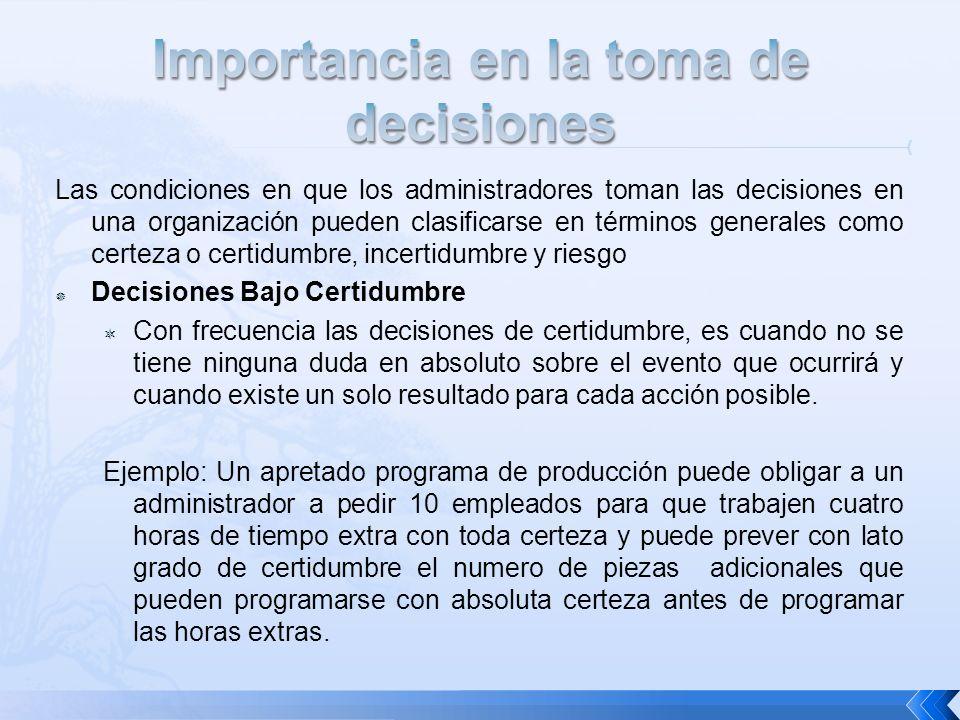 Las condiciones en que los administradores toman las decisiones en una organización pueden clasificarse en términos generales como certeza o certidumb