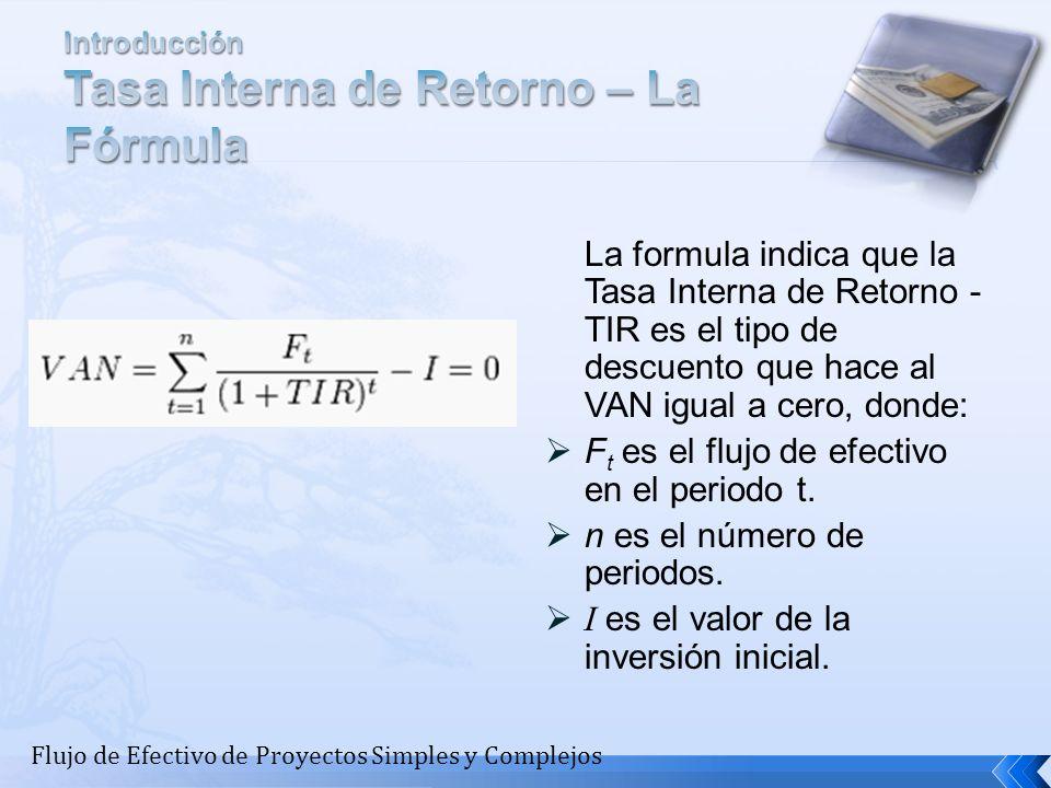 La formula indica que la Tasa Interna de Retorno - TIR es el tipo de descuento que hace al VAN igual a cero, donde: F t es el flujo de efectivo en el