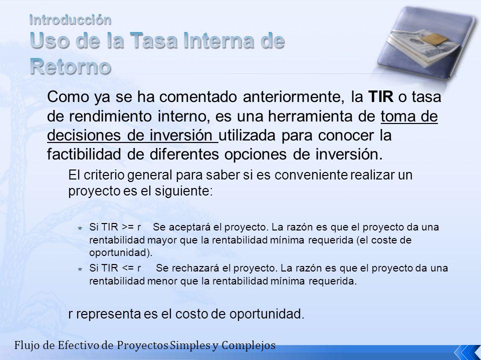 Como ya se ha comentado anteriormente, la TIR o tasa de rendimiento interno, es una herramienta de toma de decisiones de inversión utilizada para cono