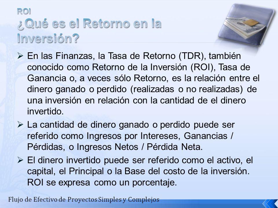 En las Finanzas, la Tasa de Retorno (TDR), también conocido como Retorno de la Inversión (ROI), Tasa de Ganancia o, a veces sólo Retorno, es la relaci