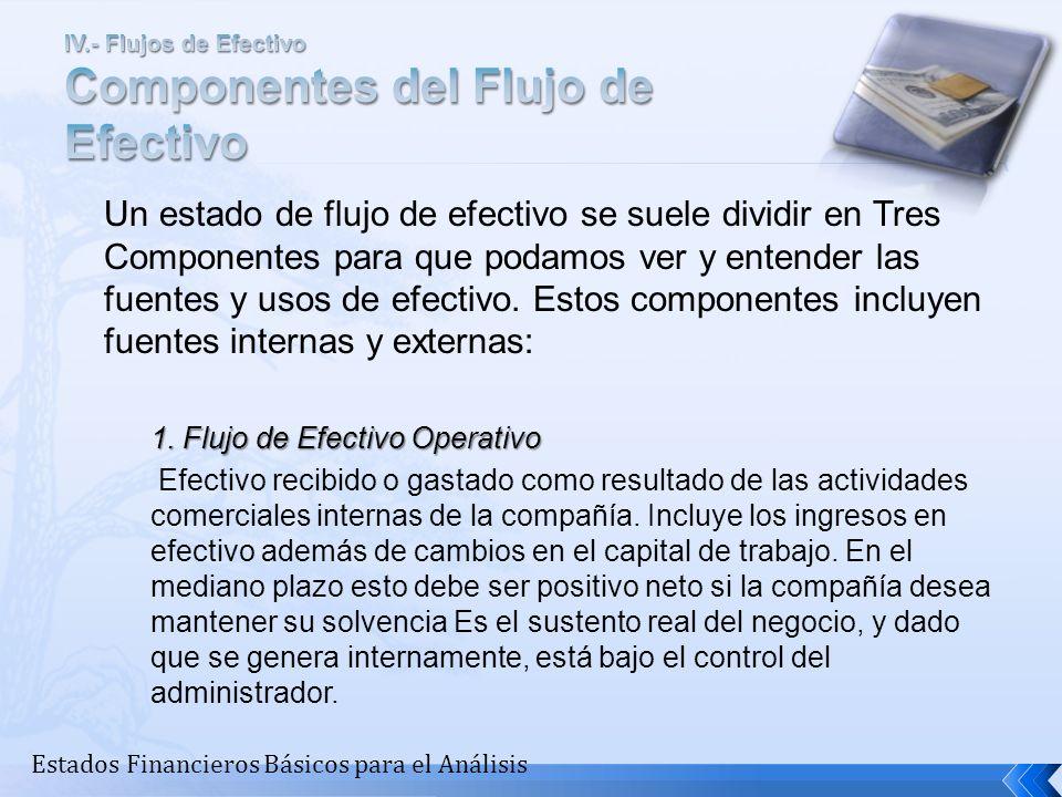 Un estado de flujo de efectivo se suele dividir en Tres Componentes para que podamos ver y entender las fuentes y usos de efectivo. Estos componentes