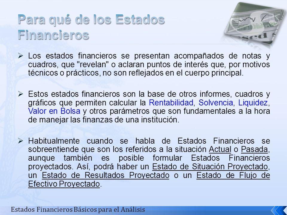 Los estados financieros se presentan acompañados de notas y cuadros, que