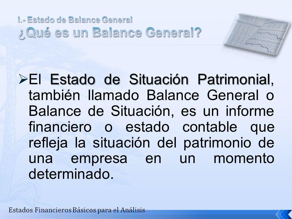 Estado de Situación Patrimonial El Estado de Situación Patrimonial, también llamado Balance General o Balance de Situación, es un informe financiero o